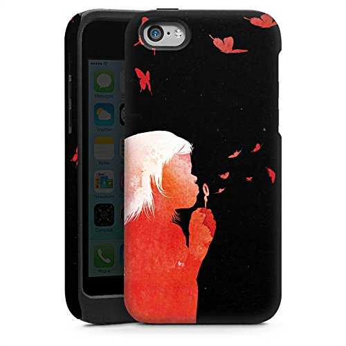 Apple iPhone 5s Housse Étui Protection Coque Papillons Art Fille Cas Tough brillant