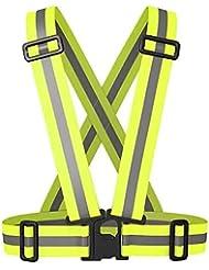 ROMIX Gilet Réfléchissant, Réglable haute visibilité élastique de sécurité Harnais, Parfait pour Courir, Jogging, vélo, Marcher, Mototourisme