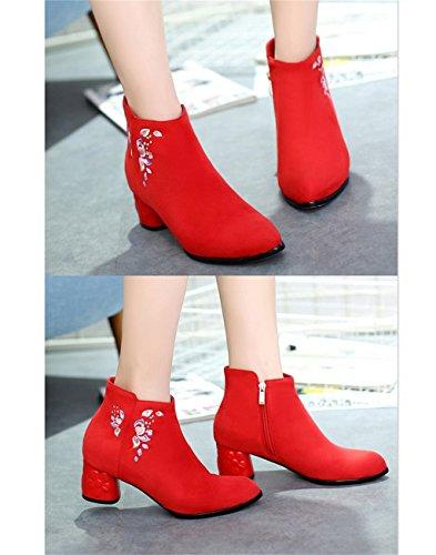 Aluk- Otoño E Invierno - Zapatos De Boda Chinos Zapatos Ásperos De La Boda Con Botas De Mujer Zapatos De La Boda (color: Rojo, Tamaño: 36 Pies De Largo 230cm) Rojo