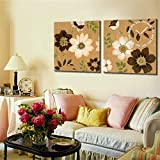 NAUY-Modern Style Canvas Painting Retro Flores Pintura Decorativa Reloj de Pared en Lona 2pcs