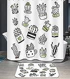 Ommda Duschvorhang Textil Wasserdicht Duschvorhang Anti-schimmel Pflanzen Digitaldruck Waschbar mit 12 Duschvorhang Ring 180x220cm(Keine Matten) Topfpflanzen