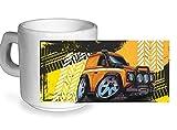 KOOLART Reifen Schienen Design für gelb Land Rover Defender 90 - Keramik Kaffee Tee Glas