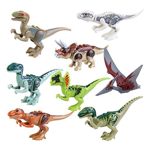 Miniatur-Action-Figuren - SODIAL(R)Jurassic Bausteine Park Dinosaurier Spielzeug Jurassic World Dinosaurier-Spielzeug - 8Stk