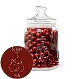Geschenke.de Keksglas mit Gravur Süßes für dich mit Pinguin-Motiv - luftdichte Keksdose zur Aufbewahrung - als tolle Geschenk-Idee