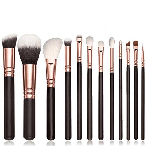 Honestyi Brosses de maquillage de 12PCS Ensemble d'outils cosmétiques Brosse à paupières Fard à joues (Noir)