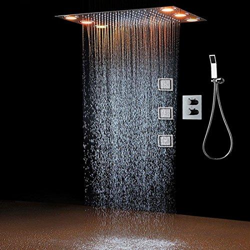hm Regen-Brauseset & 3 Körperspray LED Lichter & Handbrause Fernbedienung Farbe 3 Weg Temperatur thermostatische Mischer Bad 360 * 500mm -