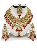 Finekraft Meena Kundan Neuestes schillernder Grand Indian Wedding Designer Gold überzogene Halskette Schmuck-Set