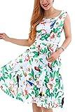 YMING Damen Knielanges Kleid Ärmellos Rockabilly Kleid Retro Cocktailkleid 50er Stil Sommerkleid,Übergröße,Grün,Völgel,XXXL