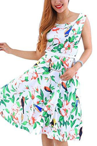 YMING Damen Blumenkleid Vintage Cocktailkleid A-Linie Sommerkleid Knielanges...
