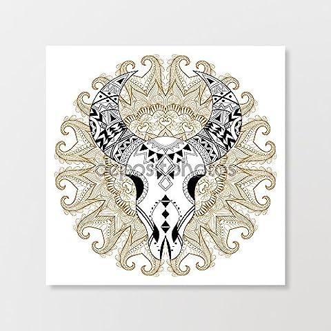 Vintage Mandala abstrait Floral moderne Impressions sur toile florale encadrée Impression sur toile prête à suspendre pour chambre à coucher Décorations d'intérieur 40,6x 40,6cm