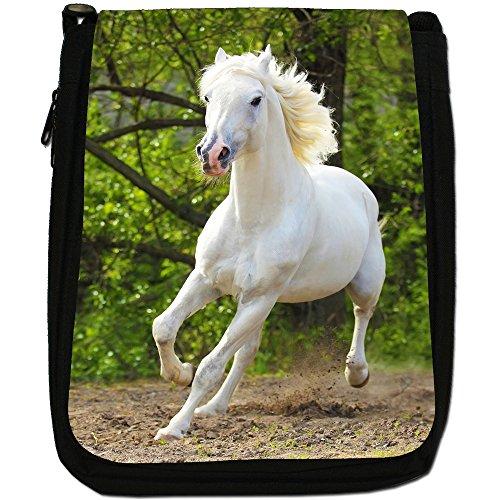 Superb eccezionale Stallion cavalli bianchi-Borsa a tracolla in tela, colore: nero, taglia: M Purebred Horse Running Field