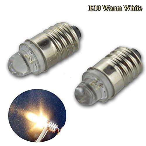 Preisvergleich Produktbild Ruiandsion Auto-LED-Licht, E10, 4.300K, DC 3V, 20 lm, 0,1W, Warmweiß, 2 Stück