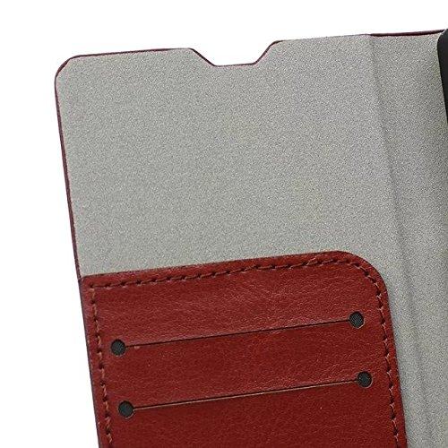 WIKO UFeel Case, Crystal Beschaffenheits-Muster-lederner Fall-horizontaler Schlag-Standplatz-Mappen-Kasten-Abdeckung mit magnetischen Clousre u. Wallet-Karten-Schlitzen für WIKO UFeel ( Color : Red ,  Brown