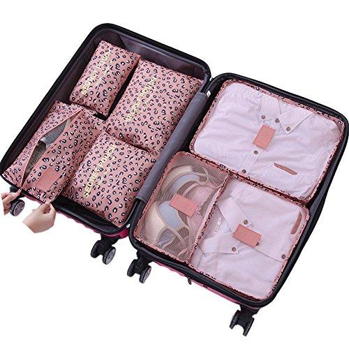 Belsmi Reise Kleidertaschen Set 7-teilig Reisetasche in Koffer Reisegepäck Organizer Kompression Taschen Kofferorganizer Mit Schuhbeutel...