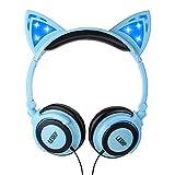 Kids Safe Headphones,3.5 MM Casque Audio pliable enfant en Oreilles de Chat,avec Lumière éclatante LED et Microphone intégré pour Ordinateur télephone