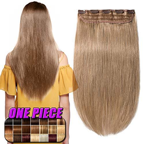 Extension clip capelli veri umani #27 biondo scuro - fascia unica 5 clips larga 23cm lunga 50cm 100% remy human hair capelli naturali lisci 95g