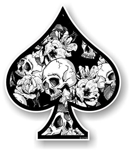 Asso di picche Design con B & W Teschio & Rose Stile tatuaggio Motivo Vinile Auto Moto Adesivo Decalcomania 100x85mm by CTD