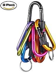 Bloqueo mosquetón–Beeway® Pack 8Premium aleación de aluminio D mosquetones gancho de clip con 2pcs Llavero o anillo para al aire libre, camping, senderismo, viajes, pesca, Mochila
