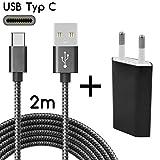 TheSmartGuard USB-C Ladegerät / 2in1 Ladeset/USB-Typ-C Ladekabel mit Netzteil/Netzstecker kompatibel mit Samsung, Sony, HTC, Huawei Mate 20/Pro, iPad Pro 2018 UVM | Schwarz | 2 Meter / 2m