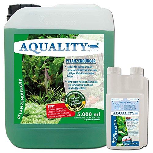 AQUALITY Pflanzendünger 5.000 ml (GRATIS Lieferung innerhalb Deutschlands - Enthält alle lebenswichtigen Spurenelemente und Mineralien für einen prächtigen und satten Pflanzenwuchs im Aquarium. Der Aquariumdünger wirkt gegen Mangelerscheinungen)