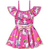 JLWF Traje De Baño para Niños Vestido De Princesa Bikini Dividido Unicornio Falda De Playa con Arco Iris Pink-140cm