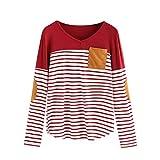 SEWORLD Damen Schal Bluse O-Ausschnitt Spleißendes Beiläufiges Mode T-Shirt Pullover Bluse Tops Strick Streifen Druck Hemd Spitzenbluse T-Shirt(Weinrot,EU-36/CN-S)