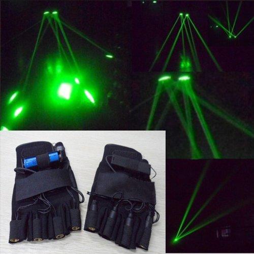 Flesser 4 x Laser Beam 532nm Green Laser Glove/Laser Showing Glove/Stage Lighting DJ Show Visible Beam (For Right Hand)