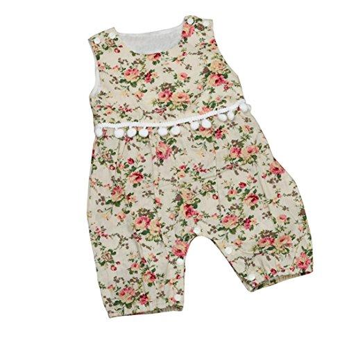 Bekleidung Longra Sommer-Kleinkind Babykleidung Baby Mädchen Floral Print Strampler Overall Jumpsuits Outfit Trägerkleid(0-18Monate) (75CM 3-6Monate, Beige) (Bund Breiter Jumper)