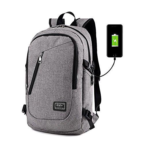 """iCasso Zaino per PC portatile 15,6"""" , Laptop Borsa Backpack leggero Viaggio Scuola anti-furto belt Business Borse multi-funzionale con USB Port , Grigio Chiaro"""