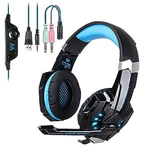 EasySMX PS4 Gaming Headset, Gaming Surround-Kopfh?rer mit Mikrofon, LED Light Bass Surround£¬Aluminiumgeh?use Kompatibel mit PS4 Xbox One PC Spiele