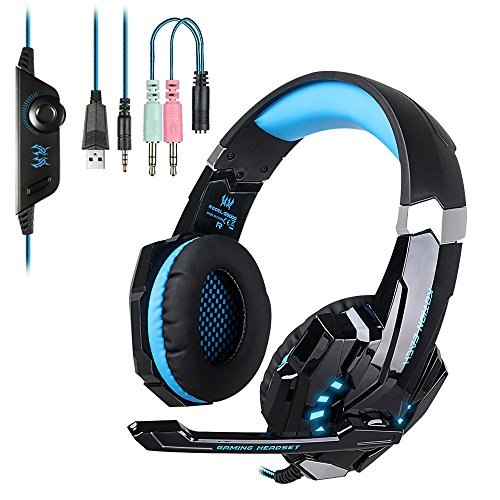 EasySMX PS4 Gaming Headset, LED-Beleuchtung Noise Cancellation Stereo Gaming Headset mit Mikrofon und In-line-Controller Kompatibel mit PS4 Mobile Phones Laptop Tablet und PC