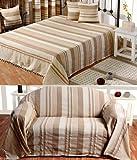 Homescapes waschbare Tagesdecke Sofaüberwurf Überwurfdecke Morocco 150 x 200 cm in Streifen-Design Bettüberwurf aus 100% reiner Baumwolle in beige