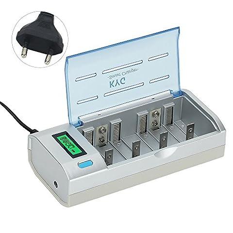 KYG Chargeur Universel Rapide de Piles AA/AAA/C/D/9V Ni-MH Ni-Cd Piles Rechargeables Simultanément, Rapid Battery Charger Polyvalent Écran LCD Intelligent Ultra Léger (piles non incluses )