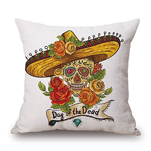 16 x 16 inches / 40 by 40 cm skull pillow cases ,twin sides ornament and gift to girls,husband,her,living room,dance room,chair
