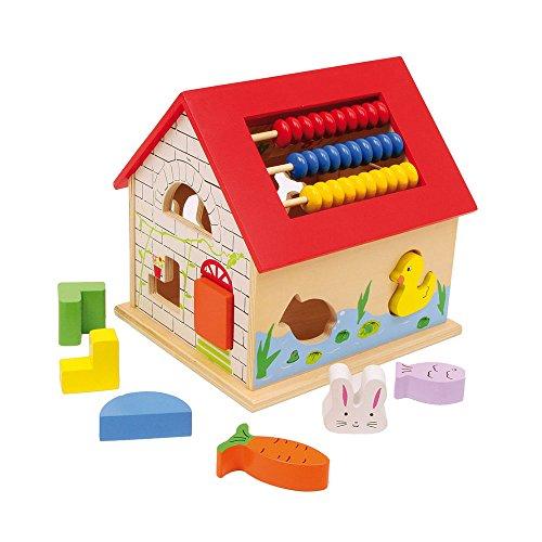 """Multifunktionshaus \""""Leo\"""" aus Holz, mit verschiedenen Motorikschleifen, Puzzles, Rechentafel, Motoriktafel und Steckklötzen, Spielzeug für Kleinkinder ab 18 Monaten"""