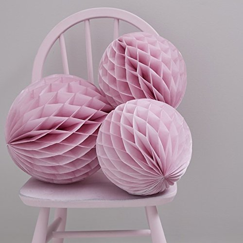 Bolas rosas decorativas en forma de panal