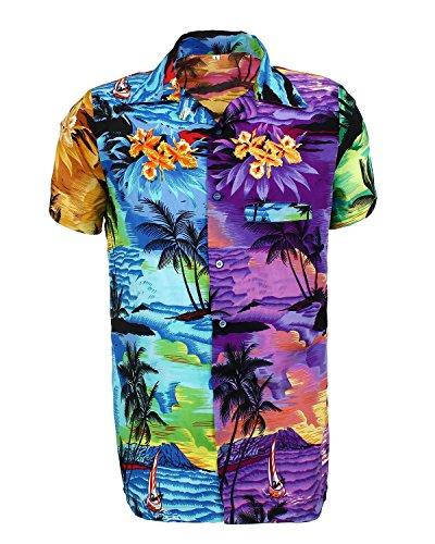 SAITARK-Camisa-Casual-con-Botones-Para-Hombre-Mix-B-Palm-Medium