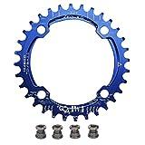 upanbike Bike schmal breit Kettenblatt 104BCD Runde Form Single Kette Ring 32Z 34T 36T Pin, blau