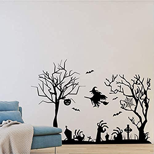 -Aufkleber Halloween-Reihe Hexe Geist Hand hässlichen Baum-Wand-Aufkleber-Geschäfts-Fenster-Feiertags-Dekoration ()