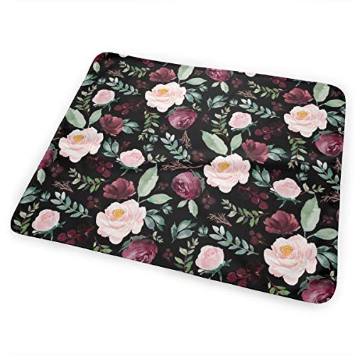 Wild At Heart Florals Black Bed Pad Washable Waterproof Urine Pads for Baby Toddler Children and Adults 31.5 X 25.5 inch Twin Hearts Wild