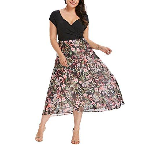 MRULIC Frauen Midi Kleider V-Ausschnitt Wrap Chiffon Floral Langarm Plus Size Abendkleid (EU-50/CN-5XL, D-Schwarz)