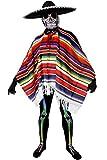 Déguisement accessoire pour adulte du parfait Méxicain avec une combinaison seconde peau style jour des morts + un grand sombrero noir + un poncho à rayures + des gants noirs. Idéal pour les fêtes d'Halloween ou les enterrements de vie de garçon.