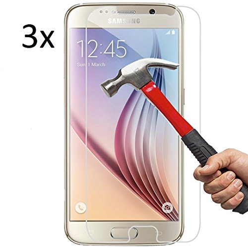 Vada-Tec | 3x bruchsicheres Panzerglas für Samsung Galaxy S6 | Schutzfolie aus 9H Echtglas | Schutzglas zur Vermeidung von Displayschaden | blasenfreie Anbringung | 3 Stück