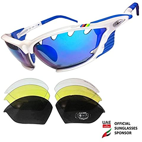 VeloChampion World Cup Sunglasses - White Frame with 4 Interchangeable Lenses (Revo Blue, Smoke, Yellow and