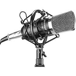 Neewer® Juego profesional de micrófono NW-700 para estudio de transmisión y grabación. Incluye un (1) micrófono de condensador profesional NW-700 + una (1) montura metálica antivibratoria + una (1) cubierta de espuma antiviento tipo bola + un (1) cable de audio (negro).