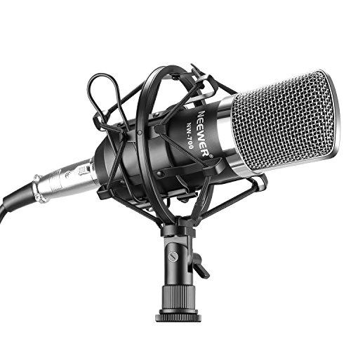 Neewer-NW-700-Micro-Condensateur-Filaire-Microphone-Professionel-Studio-Radio-Record-Kit-Comprenant-1-NW-700-Microphone--Condensateur-1-Support-Antichocs-de-Microphone-1-Bouchon-Anti-Vent-en-Mousse-1-