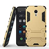 Chevron Rugged Terrain Armor Protective Shockproof Kick Stand Back Cover Case for Meizu m3 note (Gold)