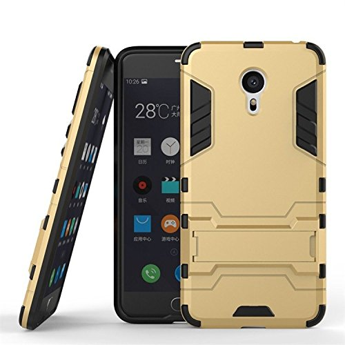 Chevron Meizu M3 Note Shock Proof Hybrid Slim Back Cover Case - [Gold] With Stand [Impact Resistant] - Ultimate Warrior Case [Chevron Infused Technology]  available at amazon for Rs.139