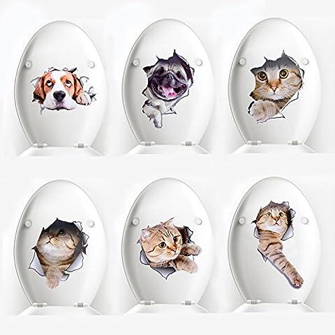 Sticker Mural, Legendog 6 PACK 3D Creative Cat Kitten Stickers de Siège de Toilette Funny Multi-purpose Wall Bathroom Porte de Fenêtre Art Decal Stickers Mural Home Decor pour Enfants Adultes