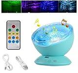 Ozeanwelle Projektor Licht 7 Lichtmodi Nachtlicht Lampe 12 LED mit Fernbedienung Stimmungslichter für Kinder